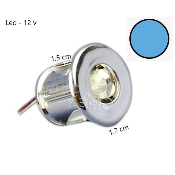 Mini led bleue Ø 15 mm a encastrer dans un campeur et camping-car ideal de 12 volts