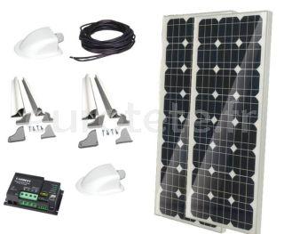 2 panneaux solaires 100 watts 120 x 55 monocristallins avec Duo digital pour camping-car