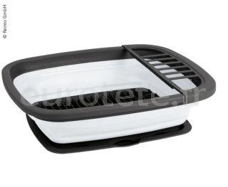 Escurreplatos familiar gris y blanco con bandeja plegable para cocina camping 1