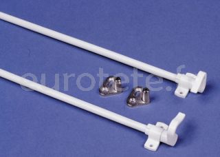 Varilla barra blanca con ganchos giratorios para cierre puerta aseo de autocaravana o caravana 1