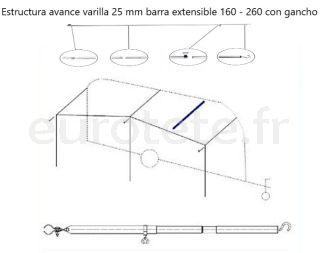 Soporte-esquema-avance-varilla-gancho-techo-aluminio-25- mm-brazo-extensible-recambio-camping-0
