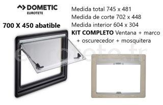 Fenetre 700 x 450 Dometic S4 pliable Kit cadre + occultant + moustiquaire 1