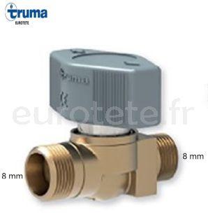 Robinet a 1 voie pour tube a gaz de 8 mm