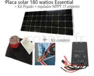 Panneau solaire 180 watts Essential + Kit colle + regulateur MPPT 1